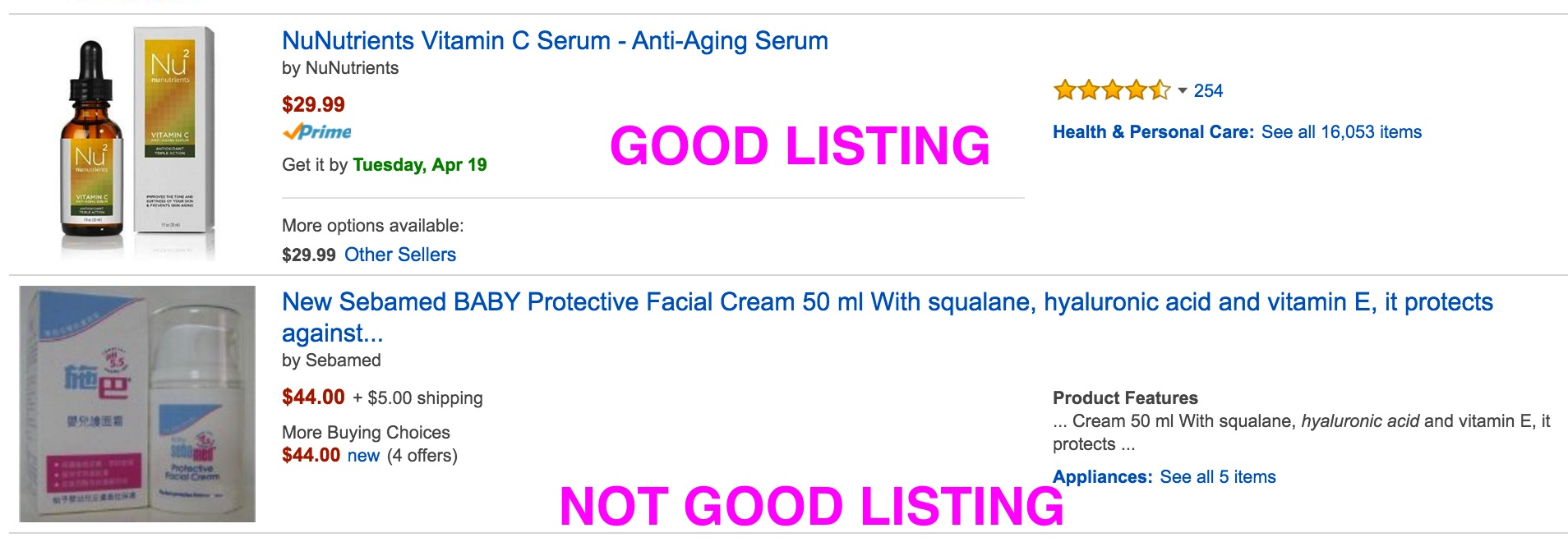 amazon good listing vs bad listing