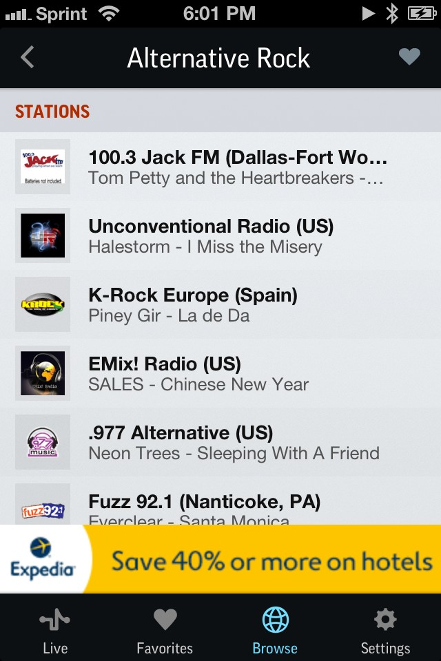 TuneIn Radio - list