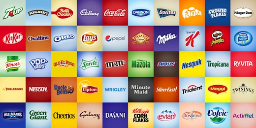 wall of food brands
