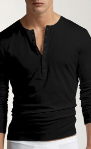 Long sleeved black shirt. The buttons give it enough style to be worn on its own or you can layer it with a vest or jacket.