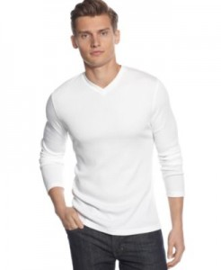 Basic long-sleeved white tee. Great for layering (under vest or jacket) or accessorizing.