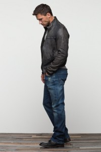 Gray wash leather jacket. A more casual variation of a leather jacket.