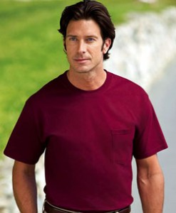 Basic Hanes T-shirt. Don't wear shirts that look like cheap clothes from Walmart. This shirt looks like it is a cheap Hanes T-shirt. The fabric is too thick, it's too crisp and the sleeves are too loose and slightly too long.