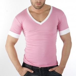 This shirt is obviously too tight. When shirts are this tight they don't show off your physique, they make you look try hard. And pink is okay on guys but not in tight, deep V-necks with white accents. This looks feminine.