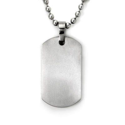 Titanium dog tags. Dog tags are great because they are very versatile, stylish and add to any outfit. Steer clear of the cheap versions, though, because they look cheap and cheesy and that can take away from your outfit. The nicer ones will be a little heavier than the cheap plastic ones.
