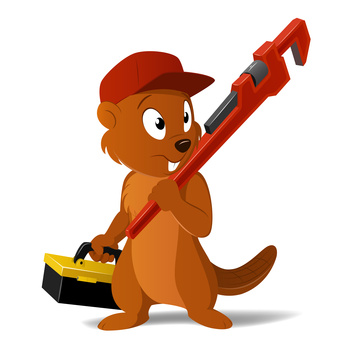 Vector cartoon beaver plumber with wrench