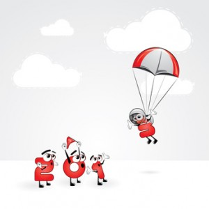 Funny New Year's Eve greeting card - Skydiving year