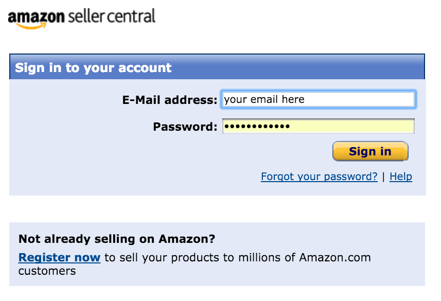 Sign up for Amazon Seller Central
