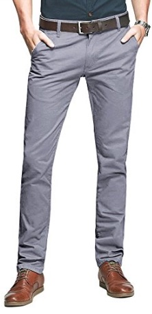 Mens Casual Slim Tapered Flat Pants