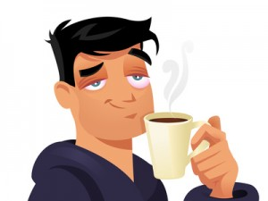 Cartoon Guy Drinking Coffee