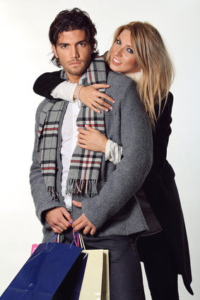 Happy couple of fashion models